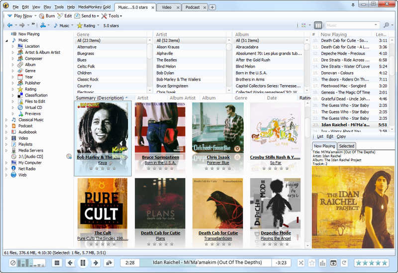 An easy-to-use media manager for serious collectors. It rips CDs and downloads files to your library, tags and organizes audio/video files and playlists, syncs with iPhones, iPods, Android, and other devices, and shares with your TV via UPnP/DLNA.
